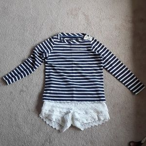 Anthropologie Boden navy and white stripe top